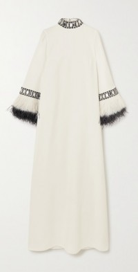 Feather and crystal-embellished cady gown