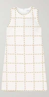Metallic embroidered wool-blend tweed mini dress