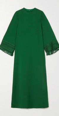 Tasseled crepe gown