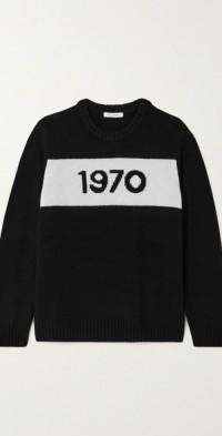 1970 oversized intarsia merino wool sweater