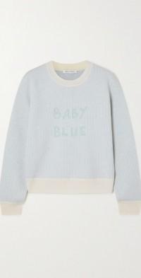 Baby Blue striped intarsia wool sweater
