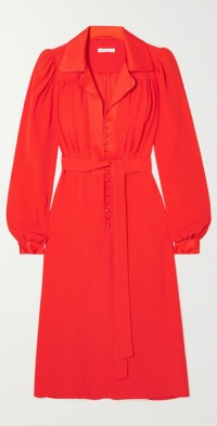 Floria belted crepe shirt dress