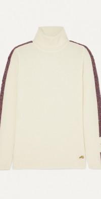 Futuristic metallic striped merino wool-blend turtleneck sweater