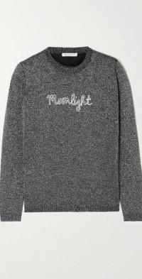 Moonlight embroidered metallic wool-blend sweater