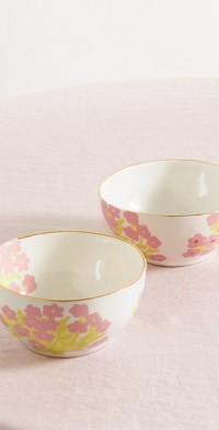Set of two 13cm small gold-plated ceramic bowls