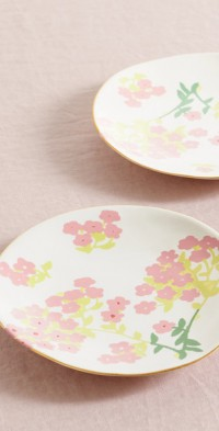 Set of two 19cm gold-plated ceramic side plates