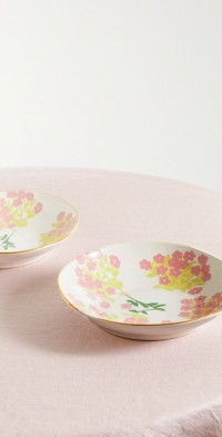 Set of two 22cm gold-plated ceramic pasta bowls
