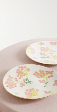 Set of two 29cm gold-plated ceramic dinner plates