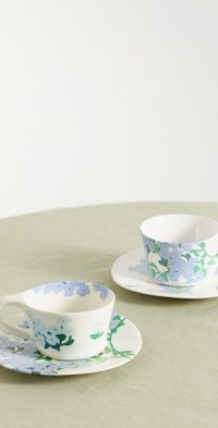 Set of two ceramic cups and saucers