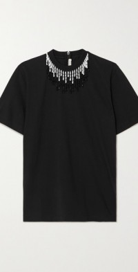 Bead-embellished cotton-jersey T-shirt