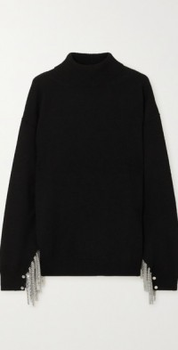 Chain-embellished wool, silk and cashmere-blend turtleneck sweater