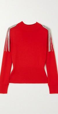 Cropped chain-embellished merino wool sweater