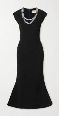 Crystal-embellished crepe midi dress