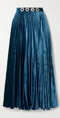 Crystal-embellished pleated velvet midi skirt
