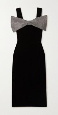 Crystal-embellished stretch-velvet midi dress