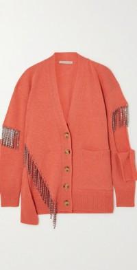 Cutout crystal-embellished wool cardigan