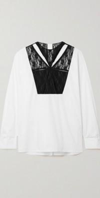 Cutout lace-paneled cotton-poplin shirt