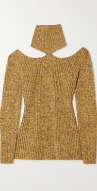 Cutout ribbed wool turtleneck sweater