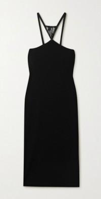 Lace-paneled ribbed stretch-jersey midi dress