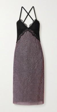 Lace-trimmed crystal-embellished chainmail midi dress