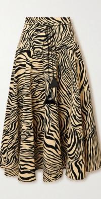 Pleated zebra-print crepe midi skirt