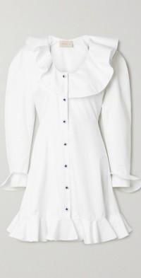Ruffled cotton-poplin mini dress