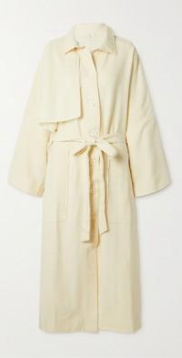 + NET SUSTAIN Natural World oversized frayed brushed wool-twill trench coat