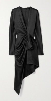Asymmetric twist-front silk-satin dress