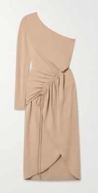 One-sleeve ruched stretch-crepe midi dress