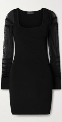 Paneled ribbed-knit mini dress