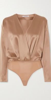 Wrap-effect silk-charmeuse bodysuit