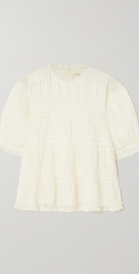 Adnet embroidered tiered organic cotton-voile blouse