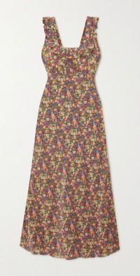 Cascade ruffled floral-print silk crepe de chine dress