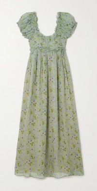 Drew ruffled floral-print silk-georgette maxi dress