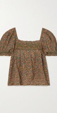 Elba smocked floral-print organic cotton-blend blouse