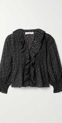 Hardy ruffled floral-print organic cotton-blend blouse