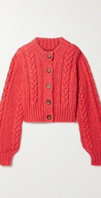 Hermione cropped cable-knit alpaca-blend cardigan