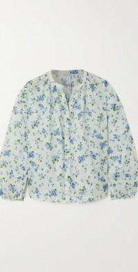 Jane floral-print organic cotton-voile blouse