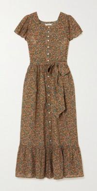 Marfa belted floral-print organic cotton-blend midi dress