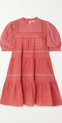 Nerine embroidered tiered cotton-voile mini dress