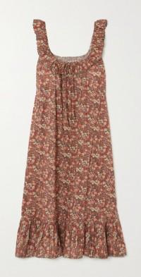 Nymphea ruffled floral-print cotton midi dress
