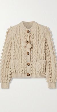 Pomme tie-detailed cable-knit alpaca-blend cardigan