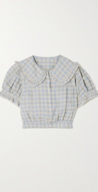 Sparrow cropped ruffled checked ramie blouse