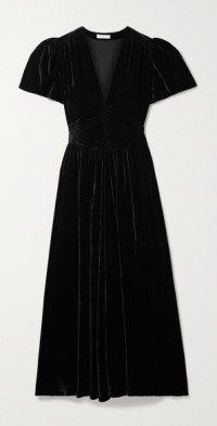 Tuileries ruched velvet maxi dress