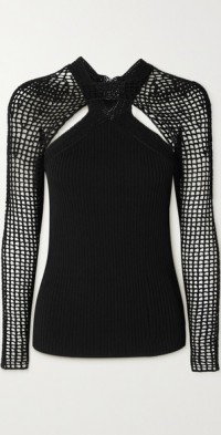 Layered ribbed-knit and crocheted top