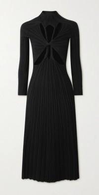 Reversible twisted cutout ribbed cotton-blend midi dress
