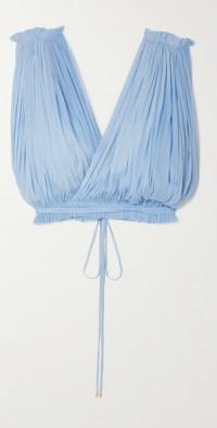 Antigone cropped draped silk-tulle top