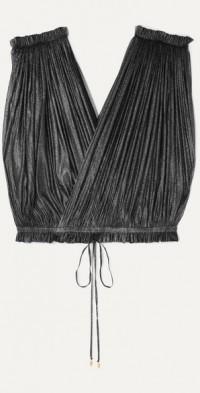Antigone cropped pleated metallic silk-tulle wrap top
