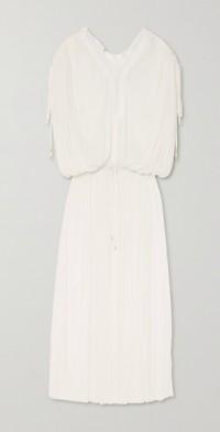 Mirita crochet-trimmed pleated silk-tulle dress