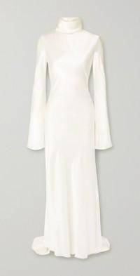 Silk-satin turtleneck gown